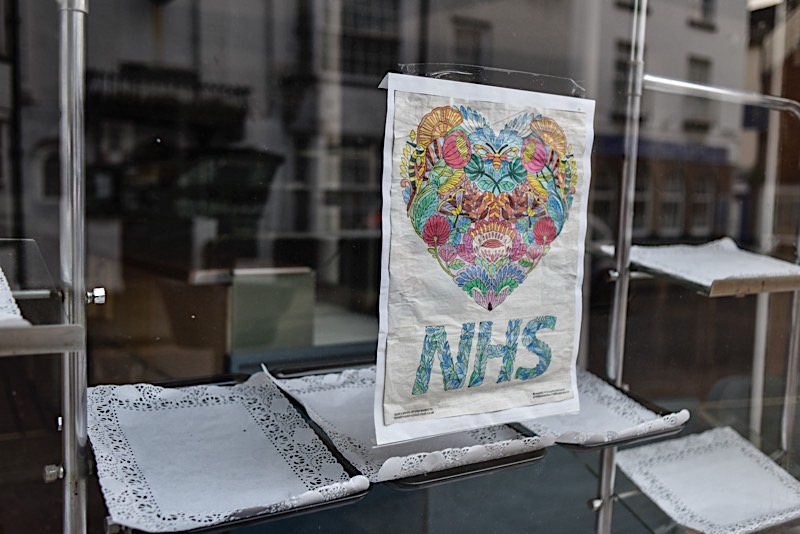 Daily Mail, NHS Poster displayed at The Central Bakery and Cafe, Leominster, May 2020