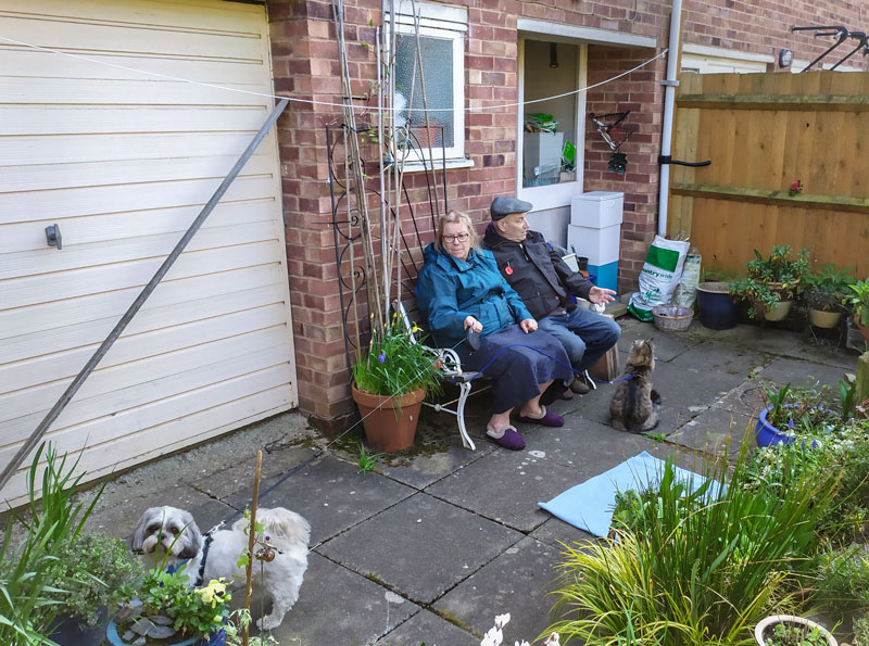Helen, Ian, Harry (Dog) and Digby (Cat), Leomisnter, April 2020